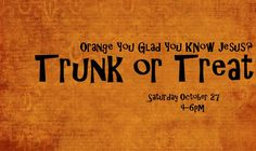 Trunk or Treat -- oranges instead of candy booth