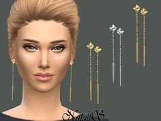 Pyramid earrings with dagger suspends by NataliS at TSR via Sims 4 Updates