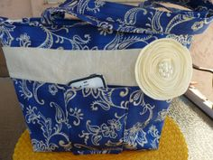 Pretty and practical! Blue Purse/tote bag Handcrafted Large Blue Fabric by AShop4Kicks on Etsy, $36.00