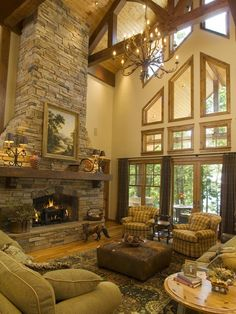 Traditional Living Room Stone Fireplace Design, Pictures, Remodel, Decor and Ideas - page 9 Stone Fireplace Designs, Stacked Stone Fireplaces, Fireplace Ideas, Fireplace Windows, Mantel Ideas, Living Room With Fireplace, Home Living Room, Living Room Designs, Living Area