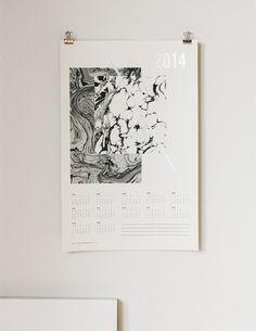 Julia Kostreva x OfaKind, 2014 Marbled Black & Silver screenprinted calendar //