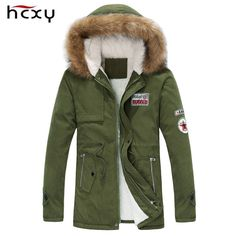 Fair price 2017 new arrival men's thick warm winter down coat fur collar army green men parka big yards long cotton coat jacket parka men just only $29.99 - 31.87 with free shipping worldwide  #jacketscoatsformen Plese click on picture to see our special price for you
