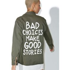 Jac Vanek Bad Choices Vintage Army Jacket ($88) ❤ liked on Polyvore featuring outerwear, jackets, vintage military jacket, patch jacket, print jacket, vintage jackets and vintage army jacket