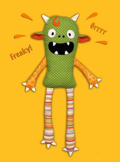 Monster Doll pdf sewing pattern - Halloween softie Stuffed toy @Stephanie Close Close Gunderson