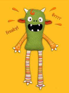 Monster Doll pdf sewing pattern - Halloween softie Stuffed toy