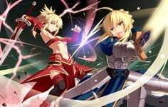 armor artoria pendragon (all) battle blonde hair braid breasts excalibur fate/apocrypha fate/grand order fate/stay night fate (series) green eyes hirame sa long hair midriff mordred (fate) mordred (fate) (all) mother and daughter multiple girls nave Saber Fate, Saber Sword, Fate Zero, Fate Stay Night, Fate Apocrypha Mordred, Arturia Pendragon, Otaku, Saga, Fate Anime Series