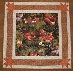 Fall Thanksgiving Quilted Table Topper Chickens by HollysHutch