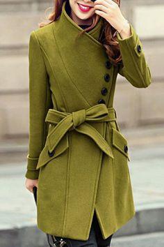 Elegant Stand Collar Candy Color Belt Design Long Sleeve Coat For Women Rosegal.com