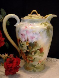 Exquisite Haviland Limoges Chocolate/Cocoa Pot; Handpainted with Rare Geraniums & Signed by Artist