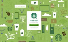 Starbucks page when signing into their Free Wi-Fi. I love all the icons on the green background.