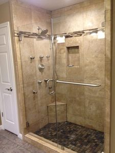 A custom inline double serenity shower doors | Frameless Shower ...
