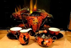 VINTAGE WITCHES BLACK CAT  *8*  PIECE TEA SET HP by Peggy* G