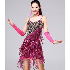 Purple violet black red fuchsia hot pink sequins fringes rhinestones women's ladies female competition performance latin salsa cha cha dance dresses outfits with gloves