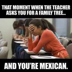 that moment when the teacher asks you for a family tree and you're mexican.
