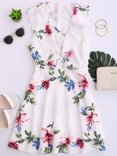 Ruffles Floral Plunging Neck Strappy Dress WHITE: Print Dresses | ZAFUL