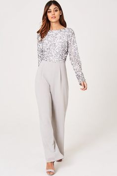 Little Mistress Luxury Brice Grey Hand-Embellished Sequin Jumpsuit - Little Mistress from Little Mistress UK Sequin Jumpsuit, Jumpsuit Outfit, Embellished Jumpsuit, Hijab Outfit, Hijab Evening Dress, Evening Dresses, Modest Fashion, Fashion Dresses, Fashion Clothes
