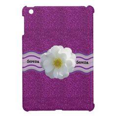 Pretty! Purple Glitter w/white Flower iPad Mini Case. Personalize it with your name (optional) #custom #ipadmini #cases #glitter