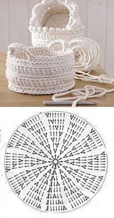 El canastillo por el gancho el esquema. | la economía doméstica para toda la familia | 기타 | Crochet, Crocheted bags and Patterns