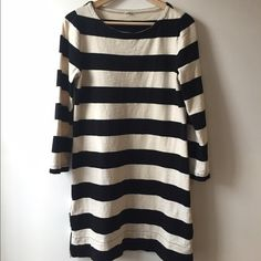 J. Crew Rugby Striped Sweatshirt Zipper Dress J. Crew Rugby Striped Sweatshirt Zipper Dress in Black & Cream stripes. Size Small (could work on a medium as well). Good condition. J. Crew Dresses