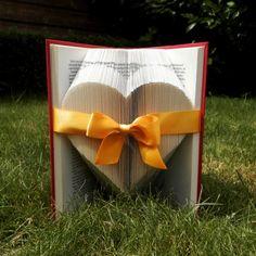 Solid Heart - Yellow Ribbon - Valentine's day - Folded book art - girlfriend gift - anniversary - wedding - handmade - Book Sculpture