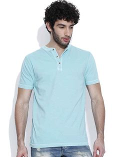 Dream of Glory Inc. Light Blue Henley T-shirt