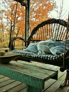 Porch swing.     I would love to nap on that!
