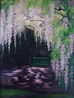 I like the way the wisteria drapes and hangs in this painting, and how it frames the image on 2 sides.
