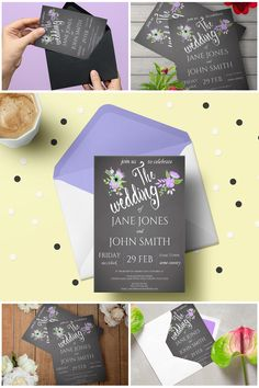 #Printable Lilac & Grey Floral #Chalkboard Wedding Invitation Suite  #prandski #weddingsuk #diyweddings #weddingsuite