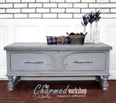"""SOLD ~ Painted in a pencil sketch gray, then lightly glazed in Black, this hope chest, """"Finley,"""" gets a new look after 50+ years. Re-loved by The Charmed Workshop. Imagine it...differently."""