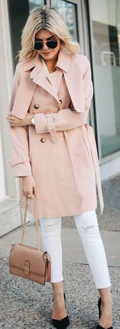#streetstyle #casualoutfits #spring |Blush Pink Trench + White Ripped Denim |Lovely Luciano
