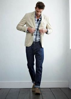 Shop this look for $138:  http://lookastic.com/men/looks/beige-blazer-and-navy-jeans-and-brown-boots-and-white-and-navy-longsleeve-shirt/625  — Beige Cotton Blazer  — Navy Jeans  — Brown Boots  — White and Navy Plaid Longsleeve Shirt