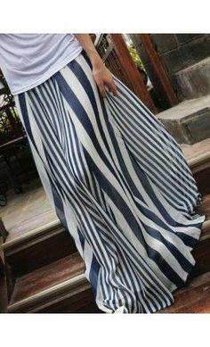 Nautical Inspired Maxi Skirt - Apostolic Clothing