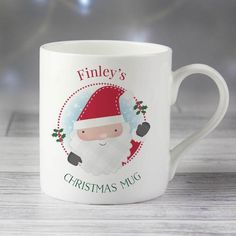 This Santa Claus Mug is the perfect way to celebrate on Christmas Eve.This mug can be personalised on the front with any name up to 12 characters and any message up to 20 characters. We can then personalise the back with up to 4 lines, 20 characte. Personalized Christmas Mugs, Personalized Mugs, Use Of Capital Letters, Special Symbols, Christmas Traditions, Christmas Eve, Xmas, Silhouette Cameo Projects, Best Gifts