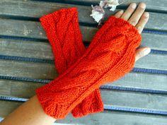 Knitted Gloves,Crochet Gloves,Coquelicot Color,Handmade,Fingerless Gloves,Winter Glove,Knit Long Gloves,Women Gloves,Bright Glove,Gift Ideas