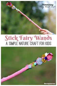 Shimmering Wand Craft for Kids! A simple backyard fairy craft for preschoolers combining craft materials and nature! Perfect summer craft craft Shimmering Fairy Wand Craft for Kids! Toddler Art Projects, Easy Art Projects, Glitter Projects For Kids, Project Ideas, Craft Projects For Kids, Easy Crafts For Kids, Diy For Kids, Camping Crafts For Kids, Craft Activities