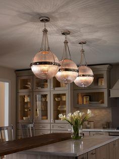 Kichler Aster Pendant Light Polished Nickel KL/ASTER/P PN from KES Lighting, one of the UK's leading suppliers of Single Pendants online. 3 Light Chandelier, Globe Chandelier, 3 Light Pendant, Kitchen Pendant Lighting, Kitchen Pendants, Interior Lighting, Chandelier Lighting, Lighting Ideas, Chandeliers