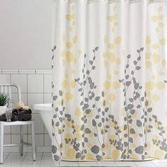 Home Classics Ivy Fabric Shower Curtain Gray Yellow Decor Design