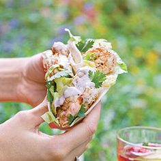 Citrus Shrimp Tacos with Southwest Cream Sauce  Grilled Corn Salsa.  Looks like a lot of work but I think my amazing Husband would LOVE this.  May have to try this one weekend.