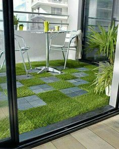 Grass floor and chairs