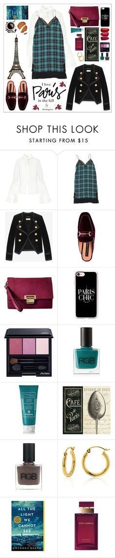 """""""I Love Paris in the Fall"""" by trendsbybren ❤ liked on Polyvore featuring Sandro, Yves Saint Laurent, Ivanka Trump, Casetify, Shiseido, RGB, Sisley, Belk & Co. and Dolce&Gabbana"""