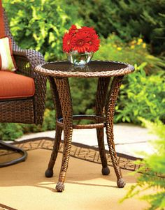 New Better Homes Gardens Azalea Ridge 20 Wicker Round Outdoor Side Table 24 h X d Steel Frame Glass Top online shopping - Chicprettygoods Wicker Side Table, Outdoor Side Table, Outdoor Dining Set, Patio Table, Outdoor Spaces, Outdoor Fire, Outdoor Ideas, Outdoor Living, Dining Set For Sale