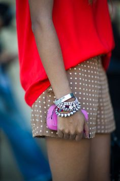 Perfect combo of colors, patterns, and spiky accessories for a sugar and spice look.