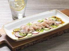 HAMACHI CRUDO @ Salt Creek Grille   Sashimi Grade Yellowtail, Cucumber, Radish Shaved Jalapeno, Ponzu Sauce, Micro Cilantro