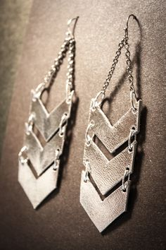 Scout Silver Leather Chevron Earrings