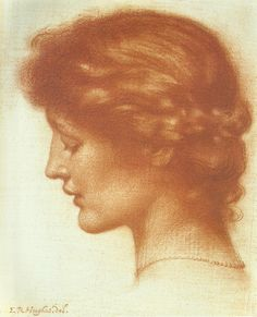 Pre Raphaelite Art: Edward Robert Hughes - Portrait of Rosalind Edward Robert Hughes, L'art Du Portrait, Portraits, Moritz Von Schwind, Art Sketches, Art Drawings, Alphonse Mucha, Academic Art, Illustration Art