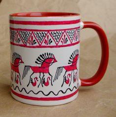 """Чашка """"Мезенские лошадки"""" 350 мл керамика, сублимационная печать 12$"""