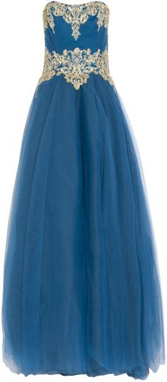 Marchesa Blue Embellished Bodice Tulle Ball Gown