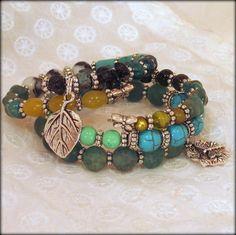Leafy Dreams Memory Wire Bracelets set of 2 by BlooMoonJewelry