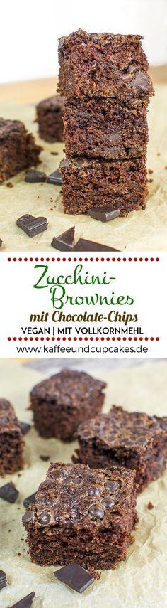 Super saftige und schokoladige Zucchini-Brownies mit Chocolate Chips {vegan} | Kaffee & Cupcakes