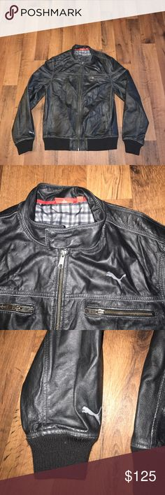 Medium Puma Full Zip Motorcycle Leather Jacket Has a distressed look to it Puma Jackets & Coats Bomber & Varsity